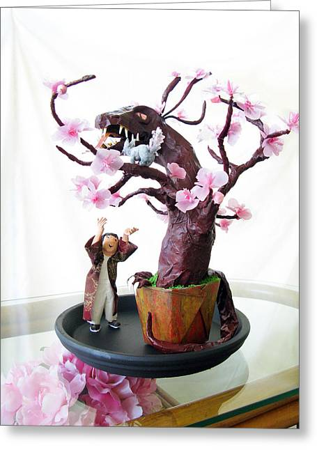 Pen Sculptures Greeting Cards - Pen-Jing Dragon Plum Tree Greeting Card by Francesa Miller