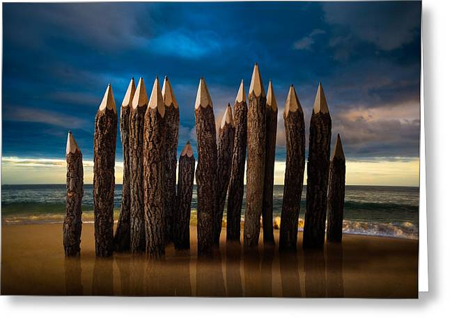 Pencil Greeting Cards - Pencil Beach Greeting Card by D.a.wagner