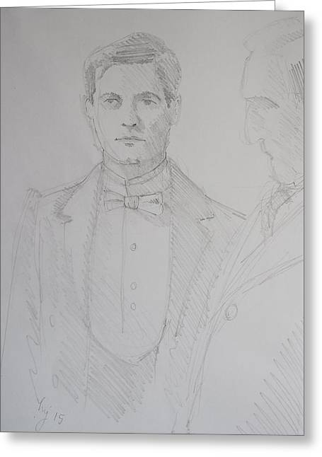 Pencil Drawing Of A Butler - White Bow Tie Greeting Card by Mike Jory