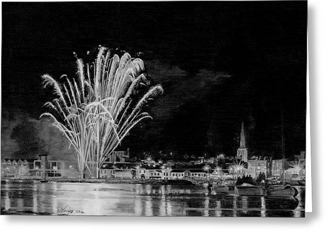 Fireworks Drawings Greeting Cards - Pencil drawing of Wexford Quay Fireworks Ireland Greeting Card by Dave Irving