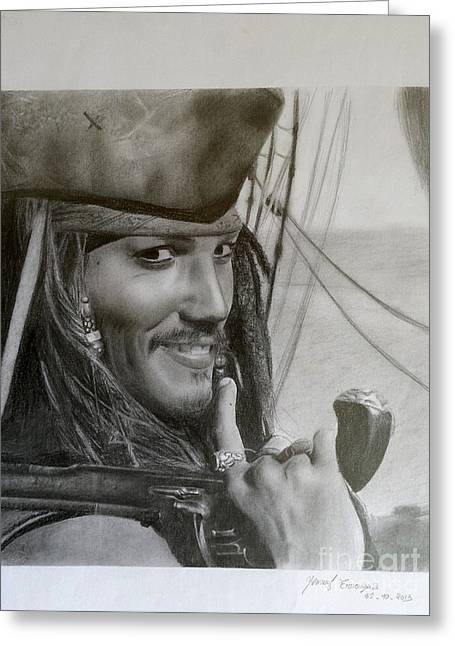 Pirates Greeting Cards - pencil drawing pirate of the caribbean  Johnny Depp  Greeting Card by Imad Elm
