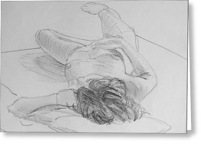 Laying On Stomach Greeting Cards - Pencil Female Nude Lying on Back  Greeting Card by Mike Jory