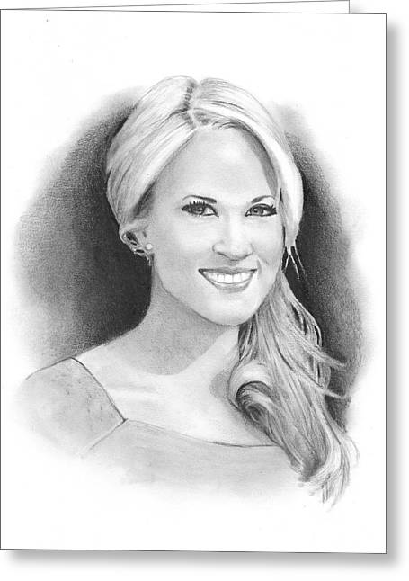 Joyce Geleynse Greeting Cards - Pencil Portrait of Carrie Underwood Greeting Card by Joyce Geleynse