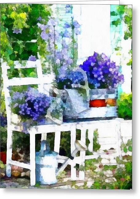 Pencil On Canvas Digital Greeting Cards - Penciled In Scene Greeting Card by Catherine Lott
