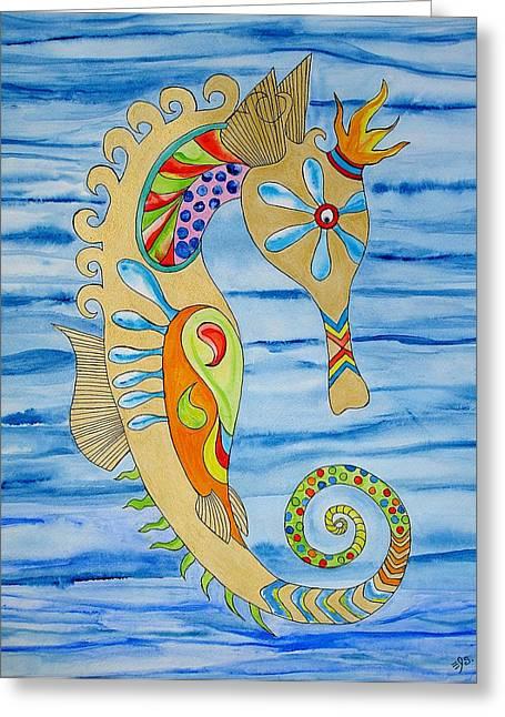 Penelope The Seahorse Greeting Card by Erika Swartzkopf