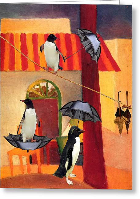 Sarah Vernon Greeting Cards - Penguin Cafe Greeting Card by Sarah Vernon