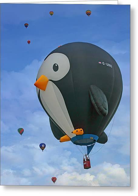 New Britain Greeting Cards - Penguin - Hot Air Balloon - Albuquerque Greeting Card by Nikolyn McDonald