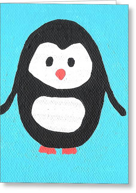 Outsider Greeting Cards - Penguin Greeting Card by Jera Sky
