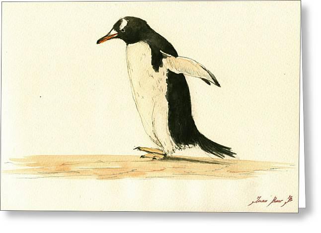 Sea Bird Greeting Cards - Penguin walking Greeting Card by Juan  Bosco