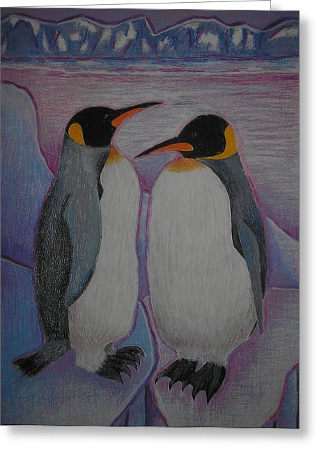 Penguins Pastels Greeting Cards - Penguins Greeting Card by Sur Real