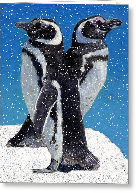 Daughter Gift Mixed Media Greeting Cards - Penguins in the Snow Greeting Card by Patricia Barmatz