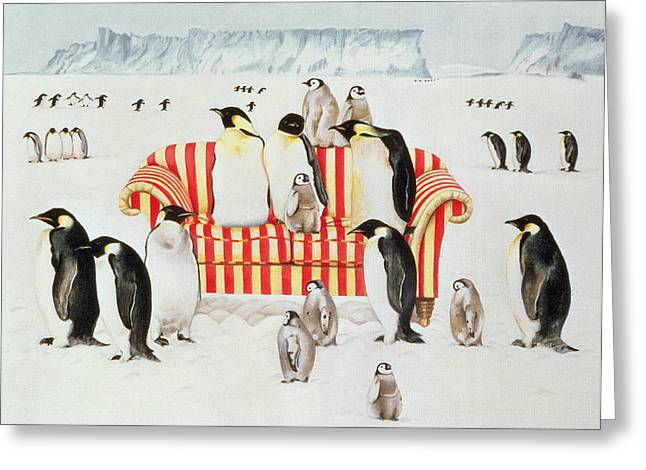 Sofa Size Greeting Cards - Penguins on a red and white sofa  Greeting Card by EB Watts