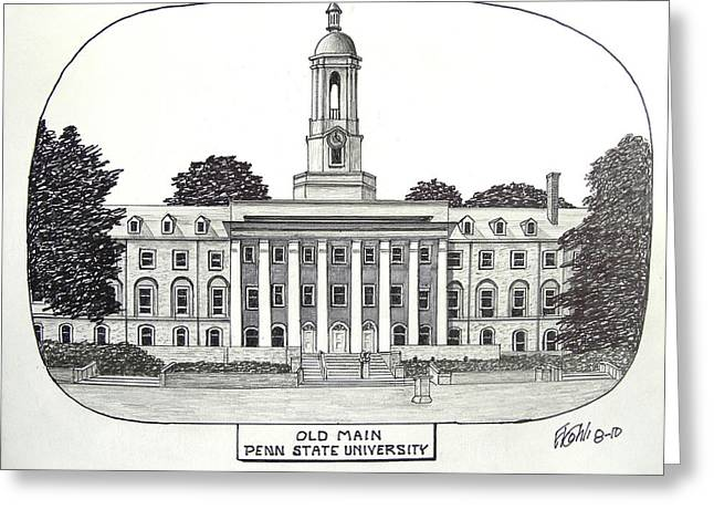College Campus Buildings Drawings Greeting Cards - Penn State Greeting Card by Frederic Kohli