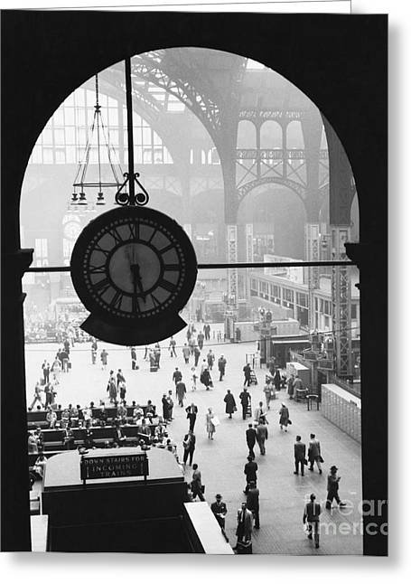 Historical People Greeting Cards - Penn Station Clock Greeting Card by Van D Bucher and Photo Researchers