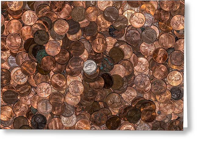 Coins Greeting Cards - Pennies in Chaos Greeting Card by Robert Hurst