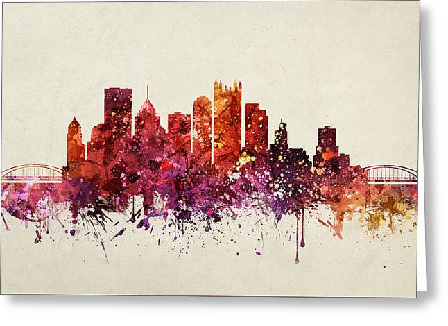 Pittsburgh Greeting Cards - Pennsylvania Cityscape 09 Greeting Card by Aged Pixel