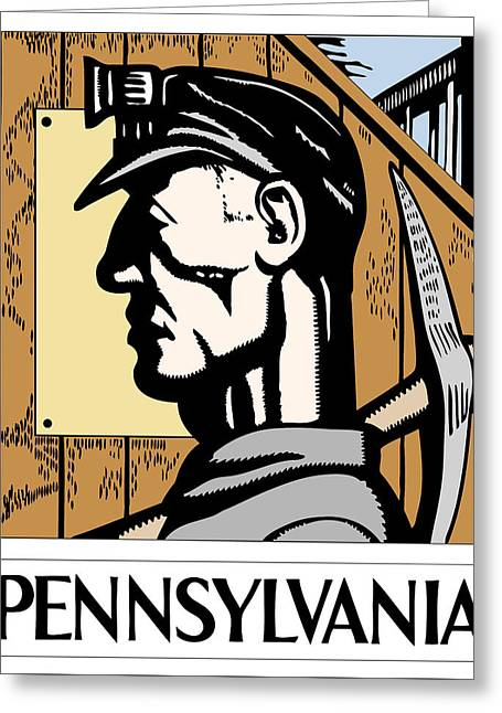 Anthracite Greeting Cards - Pennsylvania Coal W P A  Redux Greeting Card by Daniel Hagerman