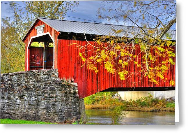 Covered Bridge Greeting Cards - Pennsylvania Country Roads - Dellville Covered Bridge Over Sherman Creek No. 13 - Perry County Greeting Card by Michael Mazaika