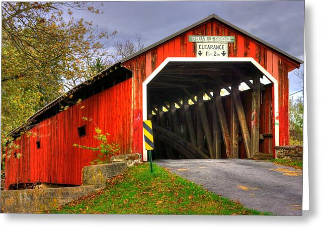 Covered Bridge Greeting Cards - Pennsylvania Country Roads - Dellville Covered Bridge Over Sherman Creek No. 17 - Perry County Greeting Card by Michael Mazaika