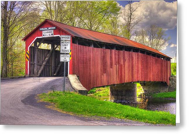 Hdr Landscape Greeting Cards - Pennsylvania Country Roads - Enslow Covered Bridge Over Sherman Creek No. 2A-Alt - Perry County Greeting Card by Michael Mazaika