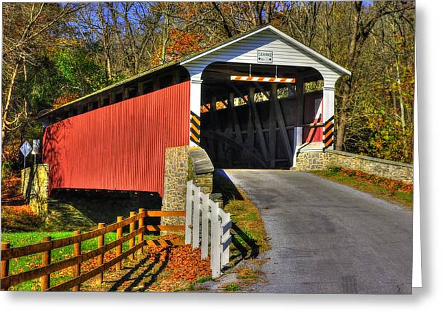 Hdr Landscape Greeting Cards - Pennsylvania Country Roads - Mercers Mill Covered Bridge No. 2A - Chester - Lancaster Counties Greeting Card by Michael Mazaika