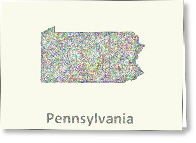 Pa Drawings Greeting Cards - Pennsylvania line art map Greeting Card by David Zydd