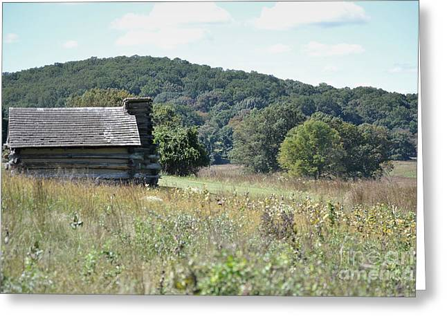 Log Cabins Framed Prints Greeting Cards - Pennsylvania Log Cabin Field Greeting Card by Andrea Hazel Ihlefeld