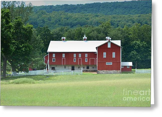 Amish Farms Greeting Cards - Pennsylvania Red Barn Beauty Greeting Card by Andrea Hazel Ihlefeld