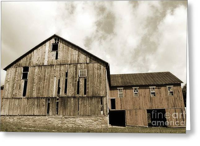 Amish Farms Greeting Cards - Pennsylvania Roadside Barn Sky Greeting Card by Andrea Hazel Ihlefeld