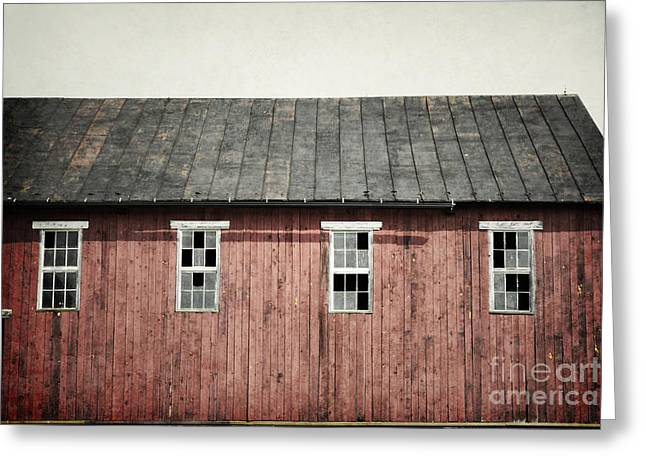 Red Roofed Barn Greeting Cards - Pennsylvania Rustic Barn Windows Greeting Card by Andrea Hazel Ihlefeld