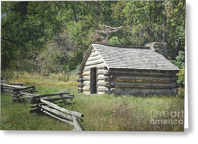 Log Cabins Framed Prints Greeting Cards - Pennsylvania Rustic Log Cabin Greeting Card by Andrea Hazel Ihlefeld