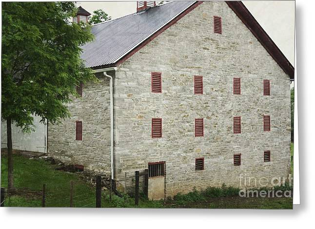 Pennsylvania Barns Greeting Cards - Pennsylvania Rustic Stone Barn Greeting Card by Andrea Hazel Ihlefeld
