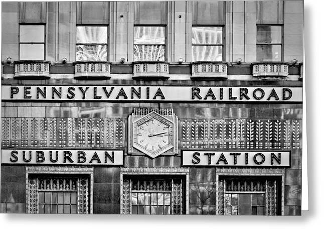 Penn Center Greeting Cards - Pennsylvania Suburban Station BW  Greeting Card by Susan Candelario