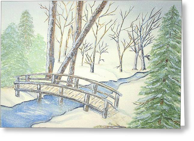 Pennsylvania Winter With Bridge Greeting Card by Constance Larimer