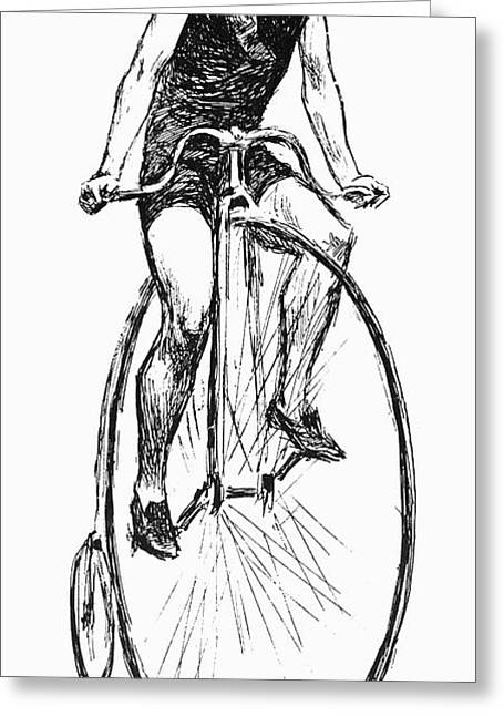 Penny Farthing Bicycle Greeting Card by Granger