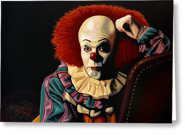 Mysterious Greeting Card featuring the painting Pennywise by Paul Meijering