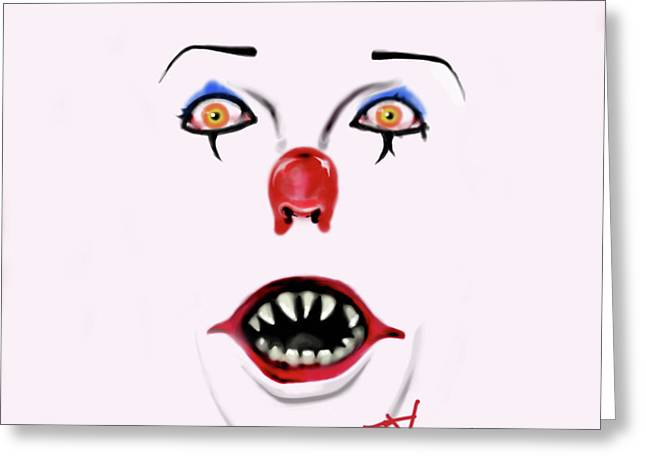 Scary Clown Greeting Cards - Pennywise the Clown Greeting Card by Danielle LegacyArts