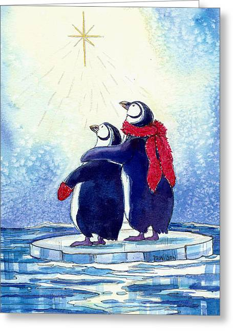 Christmas Star Greeting Cards - Penquins an Christmas Star Greeting Card by Peggy Wilson