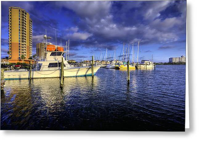 Yellow Sailboats Greeting Cards - Pensacola Beach Marina Greeting Card by JC Findley