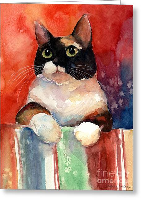 Pensive Calico Tubby Cat Watercolor Painting Greeting Card by Svetlana Novikova