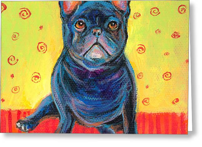 Bulldog Paintings Greeting Cards - Pensive French bulldog painting prints Greeting Card by Svetlana Novikova