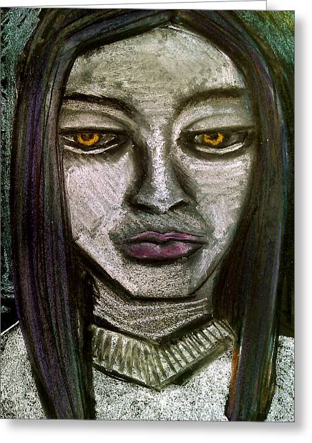 Adam Pastels Greeting Cards - Pensive Girl Greeting Card by Amy Marie Adams