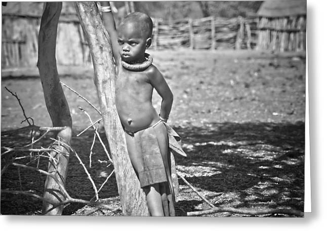 Pensive Greeting Cards - Pensive Himba boy Greeting Card by Sandy Schepis