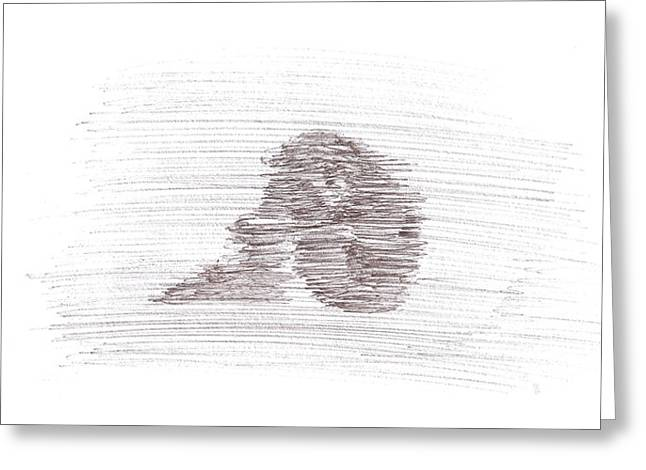 Pensive Drawings Greeting Cards - Pensive Mood Greeting Card by JSG Strokes