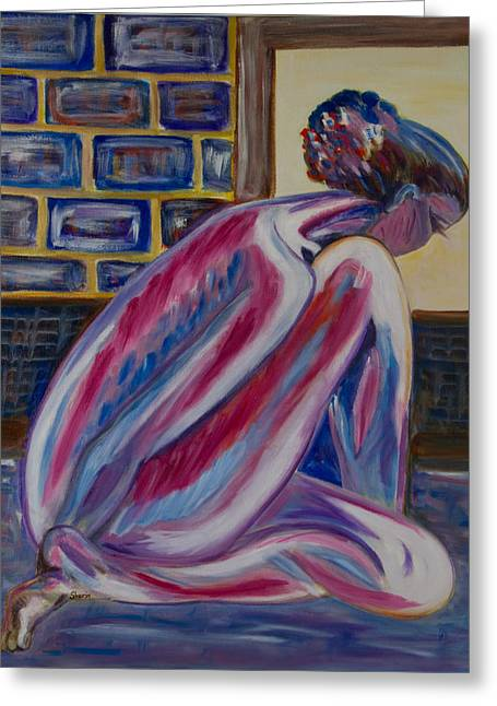 Pensive Greeting Cards - Frustration Greeting Card by Sherin  Botejue
