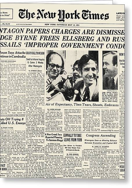 Pentagon Papers, 1973 Greeting Card by Granger