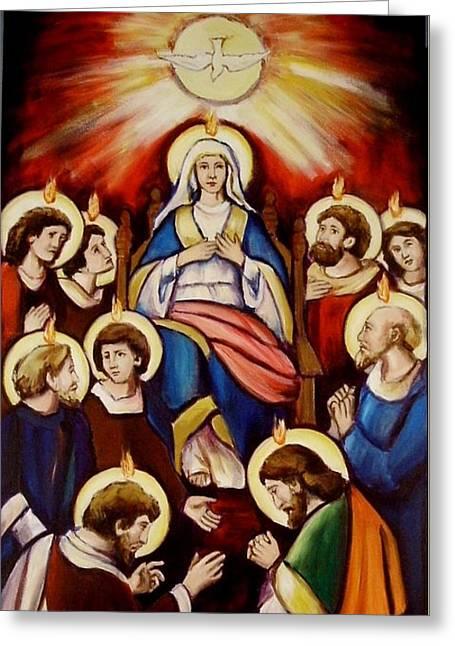 Pentecost Version I Greeting Card by Sheila Diemert