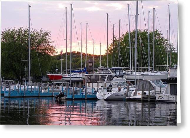 Reflections Of Sky In Water Greeting Cards - Snug Harbor Sunset Greeting Card by Jane Greiner