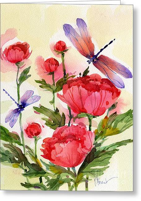 Fresh Green Paintings Greeting Cards - Peonies and Dragonflies Greeting Card by Paul Brent