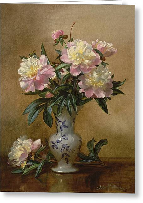 Flower Still Life Greeting Cards - Peonies in a Blue and White Vase Greeting Card by Albert Williams
